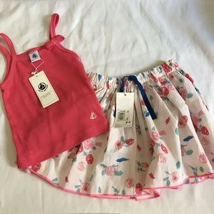 NWT! PETIT BATEAU 2 Pc Outfit Girl Toddler 3 Yr